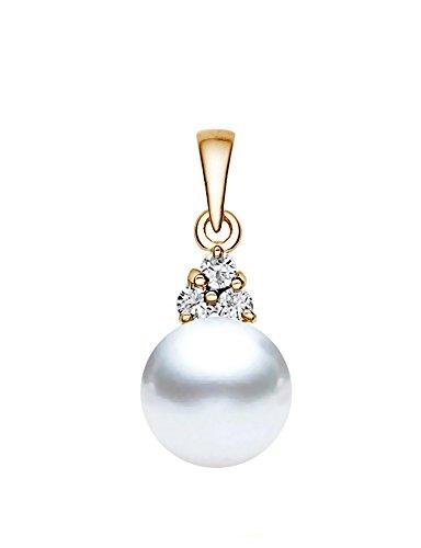Pendentif Perle de culture de Mer du sud Blanc Or jaune 14K avec diamants de qualité AAA