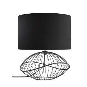 KASTELI - Lampe filaire XL - luminaire à poser, métal noir, abat-jour polycoton noir, L43XH49xP43cm