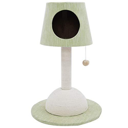 DWW Moderne Katze Baum Kätzchen Castle Tischlampe Stil, 100% Kratzbäume und Plüsch Spielzeug Ball, stabil und langlebig, 30 Zoll hoch, Beige, Blau, Grün (Farbe : Green) (Katze-häuser & Eigentumswohnungen)
