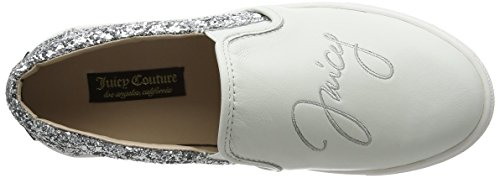 Juicy Couture Emaline, Baskets Basses Femme Blanc - White (White Leather/Silver Glitter 077)