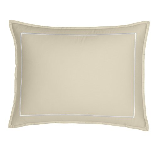 FlatIron Hotel Satin Stitch King Sham, Natural/White