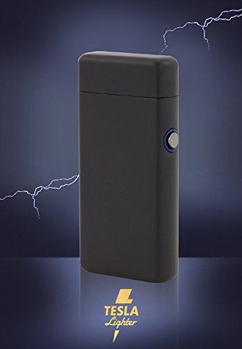 Tesla Lighter T08 Lichtbogen Feuerzeug USB Feuerzeug Arc Lighter elektronisches Feuerzeug wiederaufladbar Double-Arc matt schwarz -