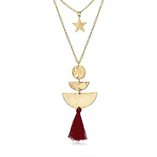 Wjsat collana lega di moda femminile doppio stelle geometria nappa collana vestiti vestiti in pizzo accessori donna partito, gioielli di festa