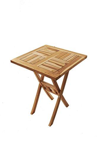 SAM® SAM® Teak-Holz Balkontisch, Gartentisch, Holztisch, quadratisch, zusammenklappbar, leicht zu verstauen, geölt, Tisch aus Teak, Massiv-Holz, ca. 70 x 70 cm [521230]