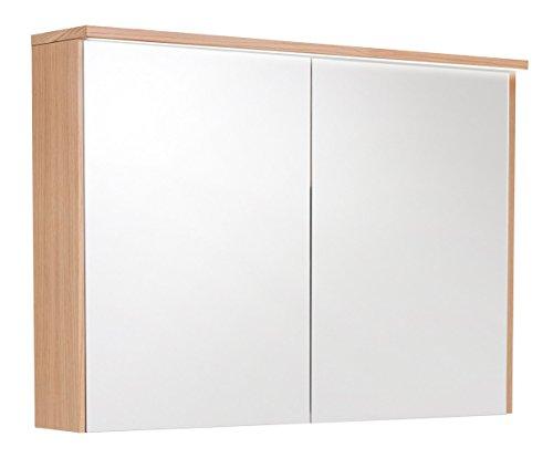 Echtholz Spiegelschrank mit Echtholzfurnier Eiche natur - 100 cm