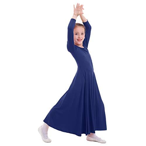 IWEMEK Mädchen Liturgisches Lob Kleid Kinder Tanzkleid mit Langarm Ballettkleid Partykleid Gebet Kleid Falten Maxikleid Party Anbetung Kostüme Marineblau 9-10 Jahre