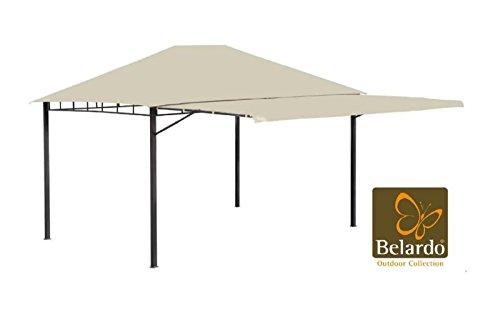 Belardo Pavillon mit hochklappbarem Seitenteil, 60x60 mm Pfostenstärke, 400x300 cm, UV-Schutz 50+