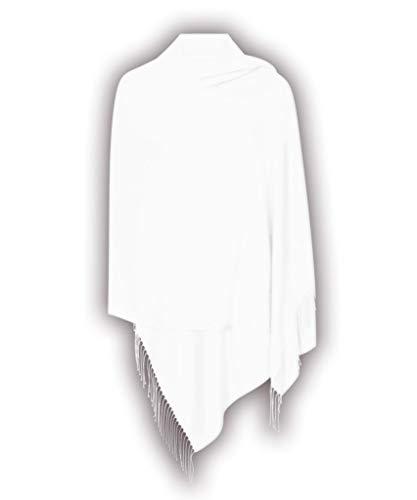 Weiß Hergestellt in Italien (37 Schöne Farben Erhältlich) Pashmina Schal Stola Umschlagtücher Tuch für Damen - Super Weich - Exklusiv von Pashminas & Wraps aus  London (Wraps Schal)