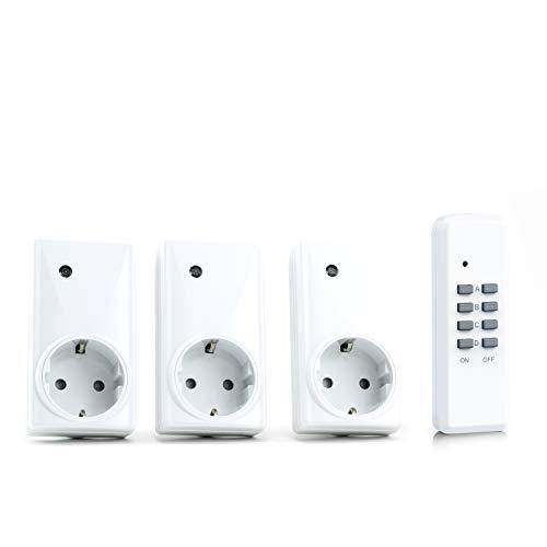 HEITECH - Funksteckdosen-Set (3+1) für den Innenbereich (Indoor)| inklusive 1x Fernbedienung für max. 4 Steckdosen | IP20-Norm für Innenbereich | LED-Funktionsanzeige | Kindersicherung | maximale Funkreichweite: ca. 25m -