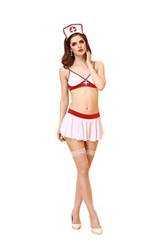 Flirty Krankenschwester Kostüme (FLH Krankenschwester Kleidung Hotel Uniformen Nurses Piece Anzug Rolle spielen Kleidung cosplay Erogenous ( Farbe : Weiß , größe : M)