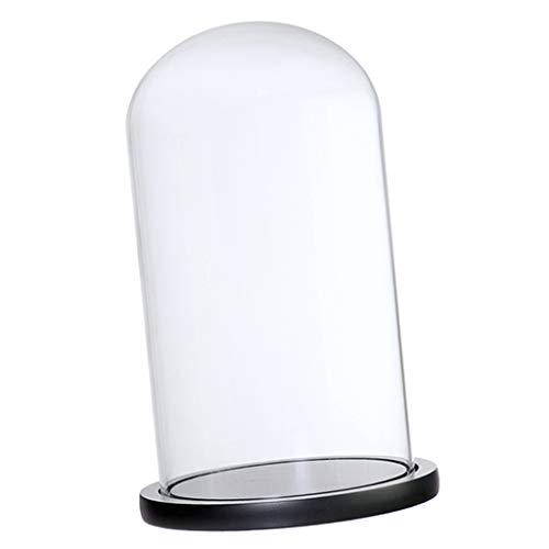(KESOTO Transparent Glasglocke Glashaube Glaskuppel Glasabdeckung mit Holzsockel - Schwarz F)