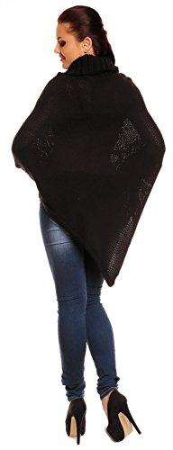 Zeta Ville - Poncho in maglia - Collo alto arrotolato - Le trecce - Donna 312Az Nero