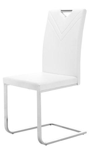 SAM Freischwinger Canton 31 in weiß, Esszimmerstuhl Fuß Edelstahl, Stuhl in geschwungenem Design