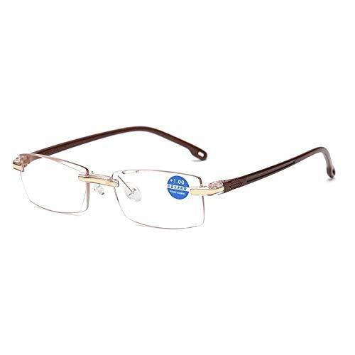 HYH Schnittkante HD Lesebrille Männer Ultraleichte Anti-Blaulicht Komfortable Anti-Müdigkeit Rahmenlose Alte Brille Männer Schönes Leben (Size : 300)