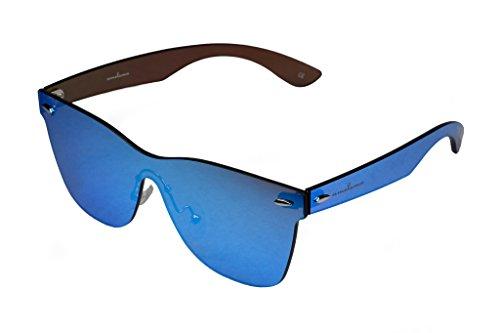 amoloma Rahmenlose Randlose Nur Glas Sonnenbrille Wayfarer Stil Blau verspiegelt