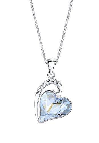 Anhänger Herz Akzente 925 Sterling Silber Swarovski Kristall blau Herzschliff 0109681614_45 (Disco Outfit Ideen)