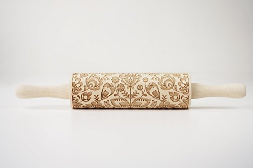 Folk embossing rolling pin. Floral pattern to emboss pastry, cookies and biscuits.