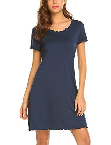 Kurzarm-nachthemd (Lucyme Damen Basic Nachthemd mit Kräuselrändern Kurz Nachtkleid Kurzarm Sleepshirt, EU 40(Herstellergröße: L), 150 Dunkelblau)