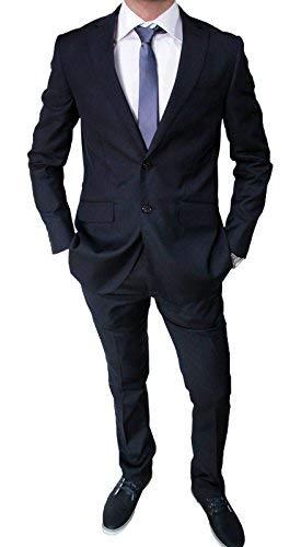 Mat sartoriale abito da uomo blu scuro completo vestito slim fit invernale (48)
