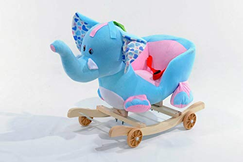 2 IN 1 BABY MUSICAL ROCKING ANIMAL HORSE RIDE ON ROCKER CHAIR WALKER KID TOY (BLUE ELEFHANT)