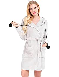 Dromild Señoras Robe algodón Bata Albornoz Suave Bata Larga para Mujer con Bolsil S-XXL