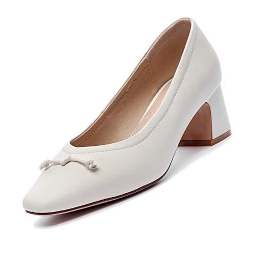 JJXD Büro-Schuhe für Frauen Work Court Schuhe Pointed Toe Heels Court Schuhe Low Heel Wedge Schuhe Mid Heel Pumps Schuhe Slipper,Weiß,36 -