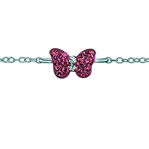 FIVE-D Kinder Armband Kristall Schmetterling Länge 14/16 cm 925 Sterling Silber im Geschenketui