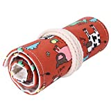 #2: Banggood 36 Holes Paint Brushes Bag Pencil Pen Holder Cow Print Make Up Pouch Red