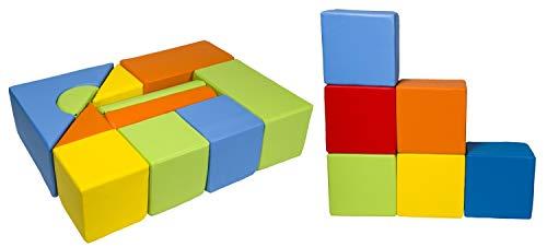 *Velinda 17 Großbausteine Schaumstoffbausteine Softbausteine Bauklötze Schloss+Quader-Set (Farbe: mix1)*