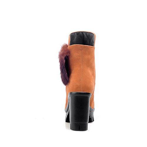 VogueZone009 Femme Haut Bas Tire à Talon Haut Rond Bottes avec Décoration Métal Jaune