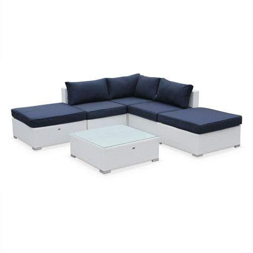 Salon de Jardin en résine tressée - Milano - Blanc, Coussins Bleu Marine - 7 Places - 2 méridiennes, 2 poufs, 1 Fauteuil d'angle, Une Table Basse