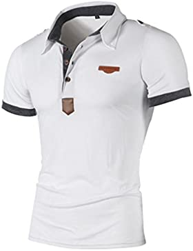 [Patrocinado]Venmo Polo de Manga Corta Casual Hombres Moda Camisas Polos Manga Corta Hombre Baratos Gris Blanco