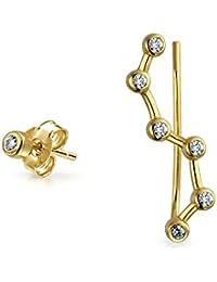 Bling Jewelry Chapado en oro y plata 925 CZ Constelación Pin oído Stud Earring Set