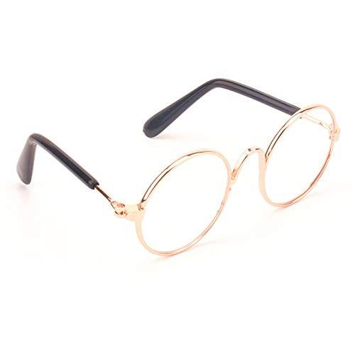 Goggles Hundebrillen Coole stilvolle und lustige Nette pet Sonnenbrille Klassische Retro rund Metall Rahmen Sonnenbrille für Doggy Puppy cat (Color : 7#, Size : 8cm)
