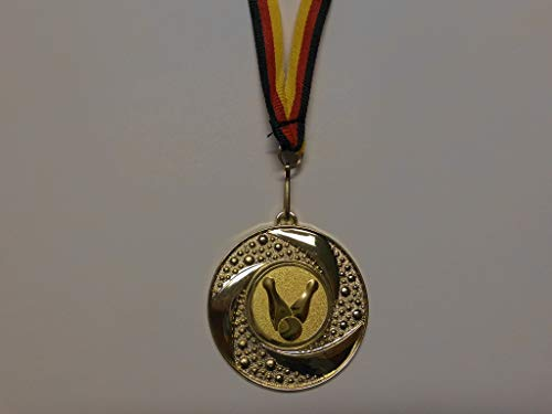 Fanshop Lünen Medaillen aus Metall 50mm - mit Einem Emblem, Bowling - Bowlen - inkl. Medaillen Band - Farbe: Gold - Medaille mit Alu Emblem - (e219) -
