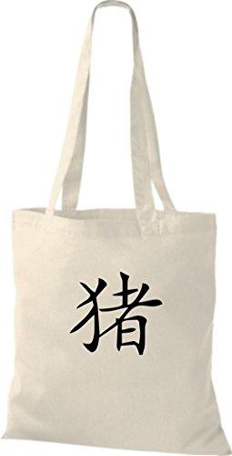 ShirtInStyle Stoffbeutel Chinesische Schriftzeichen Schwein Baumwolltasche Beutel, diverse Farbe natural