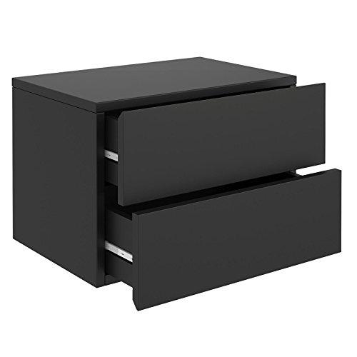 CARO-Möbel Nachtkommode ANNI Nachttisch Nachtschrank hängend Wandregal mit 2 Schubladen in schwarz