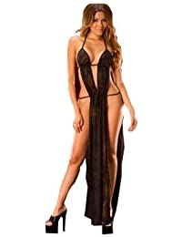 67482d2a393 KamX New Sexy Women  Lingerie Sleepwear Gown Chemise Babydoll Long Gown  Nightdress with G String Underwear Honeymoon…