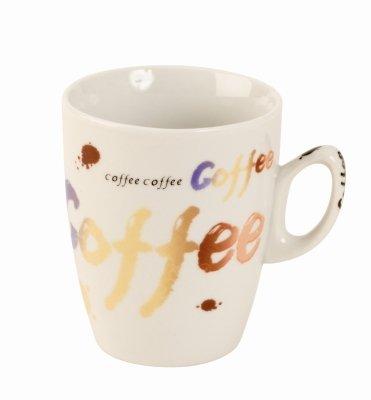 Tolles Kaffeetassen Set COFFEE weiß 4er-Set in einer PVC Geschenkbox Höhe 9 cm Breite 24 cm - 2