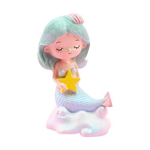 Ruiting Meerjungfrau Figur Grün, Geburtstagstorte Dekor Kid Spielzeug Wohnkultur Kreative Harz Meerjungfrau Statue Modell