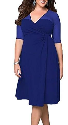 SunIfSnow - Chemise de nuit - Uni - Manches 3/4 - Femme Bleu Bleu