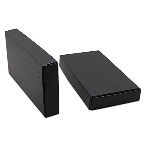 50 Stück Schwarz Farbe Kraftpapier Pappschachtel Mini Kraftpapier Kasten Kartons Geschenkboxen Gastgeschenk Packung kleinen Schmuck Seife Süßigkeiten Geschenke Speicherung Für Lebensmittel Party Hochzeit (11x6x2.2cm ()