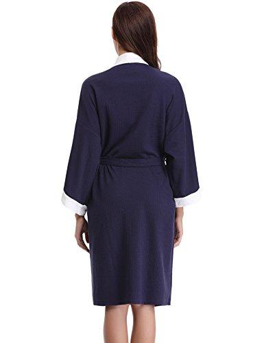 Aibrou Accappatoio per Donna & Signore Vestono Pigiama di Cotone Abito Tutte Collare V Tipo Cialda Vestiti Sauna Veste Spugna Stagioni Camicia da Notte. Blue