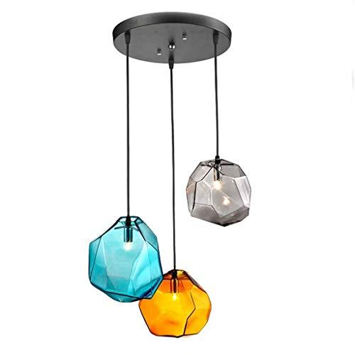 Deckenbeleuchtung 3-Licht, Farbige Kleine Pendelleuchte, Polygone Mundgeblasene Steinglas-Kronleuchter Für Wohnzimmer Esszimmer Schlafzimmer Restaurants 9 Zoll G9