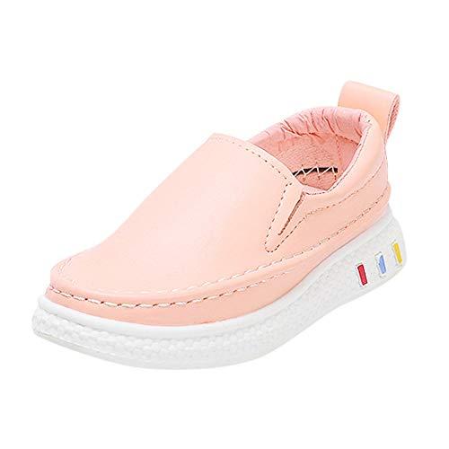 Yazidan Kinder Kind Jungen Mädchen Leder Solide Flach Student Lässig Formal Schuhe Kinder Stiefel Laufen Aqua Schuhe Weich Sole Atmungsaktiv Slip-on Mode Leichtgewicht Turnschuhe(Rosa,EU:23)