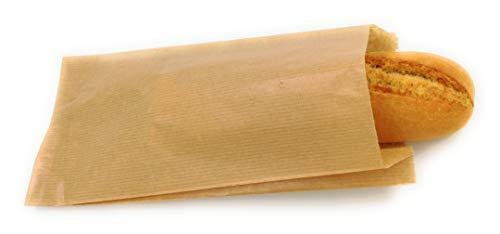 Bolsas papel kraft marrón bocadillo pastelería 14+7x27
