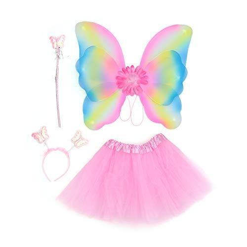BESTOYARD KinderMädchenFeeKostümeTutu Rock LEDPrinzessinDoppelschicht SchmetterlingsflügelStirnbandZauberstabHalloween PartyKostüm4-TeiligesSet (Rosa)