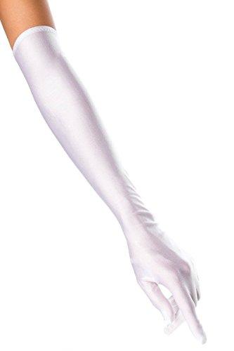 krautwear Damen Handschuhe Spitze Ellenbogen Lang Abendhandschuhe Gerafft Braut Kurz Satin Schleife Schwarz Rot Weiss (053-weiss)