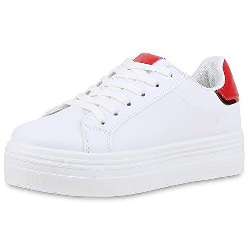 SCARPE VITA Damen Plateau Sneaker Turnschuhe Schnürer Metallic Plateauschuhe 174346 Weiss Rot 38 -