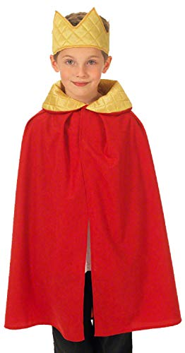Childrens Boys Girls Royal King Queen Cape & Crown Red Gold Historical Nativity Fancy Dress Costume Outfit 3-9 Years -